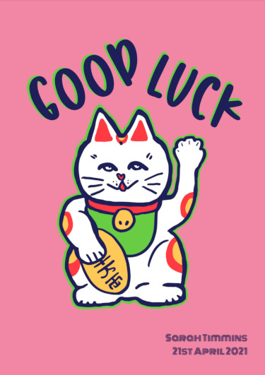 A good luck card showing a chinese cat