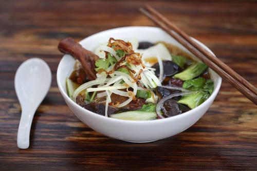 Mi vit tiem, Vietnamese and Chinese egg noodle soup  [LARA CERRI  |  Times]