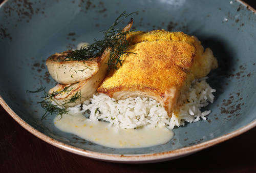 The Gulf grouper coated in orange dust, with roasted fennel and ginger jasmine rice  [LARA CERRI  |   Times]