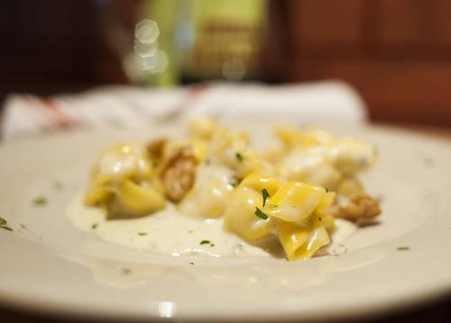 Sacchetti gorgonzola with walnut sauce  [OCTAVIO JONES  |  Times]