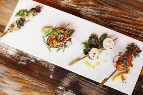 Yakitori skewers chicken meatball, beef tenderloin and Noble Hatsu   [OCTAVIO JONES  |  Times]