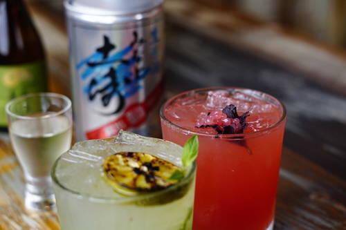 Pinwheel and Ama No To Heaven's Door sake cocktails  [LUIS SANTANA  |  Times]