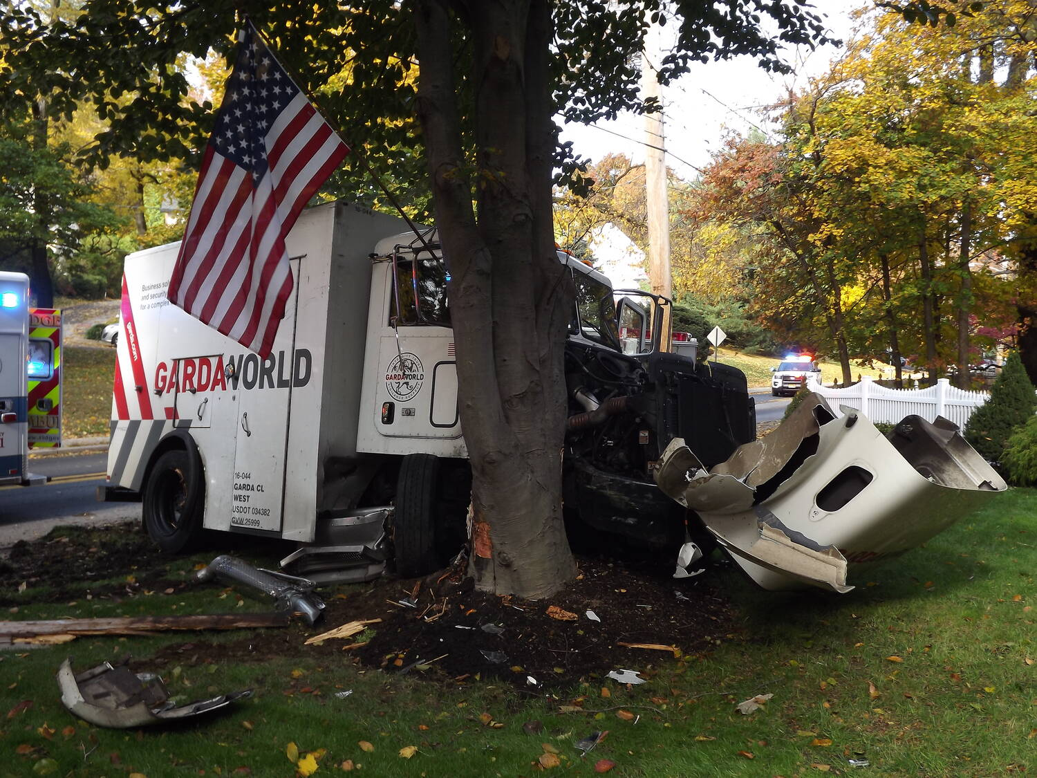 A GardaWorld armored car crashed into a tree.