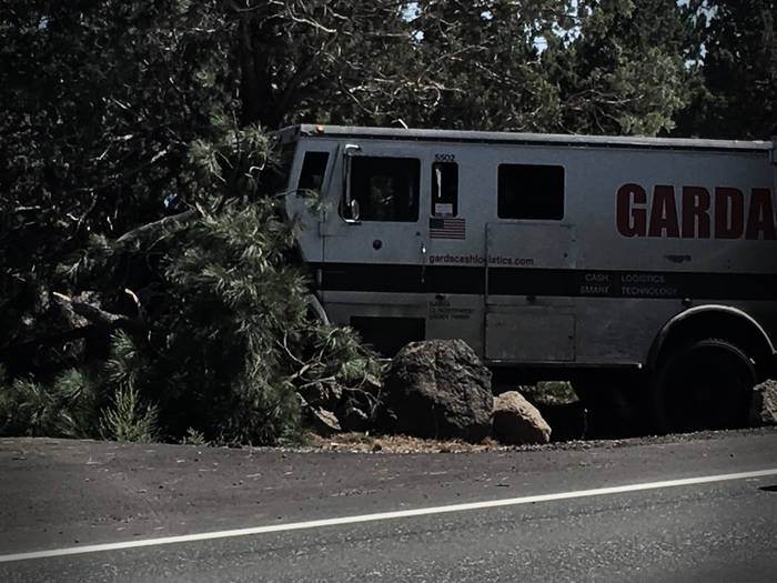 A tree smashed and rocks scattered by a crashed Garda armored truck.