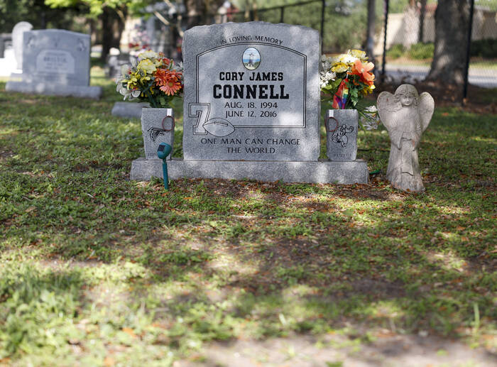 A grave monument with the name of Cory James Connell