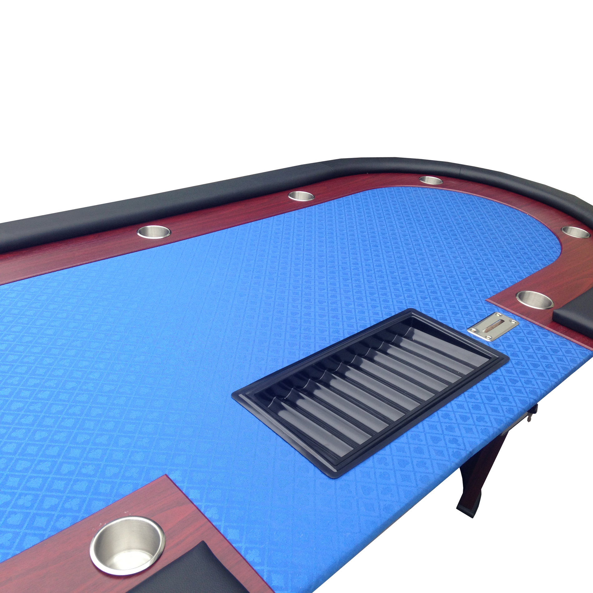 """96/"""" Texas Hold/'em Casino Poker Table with Cup Holders Drop Box Chip Tray Blue"""
