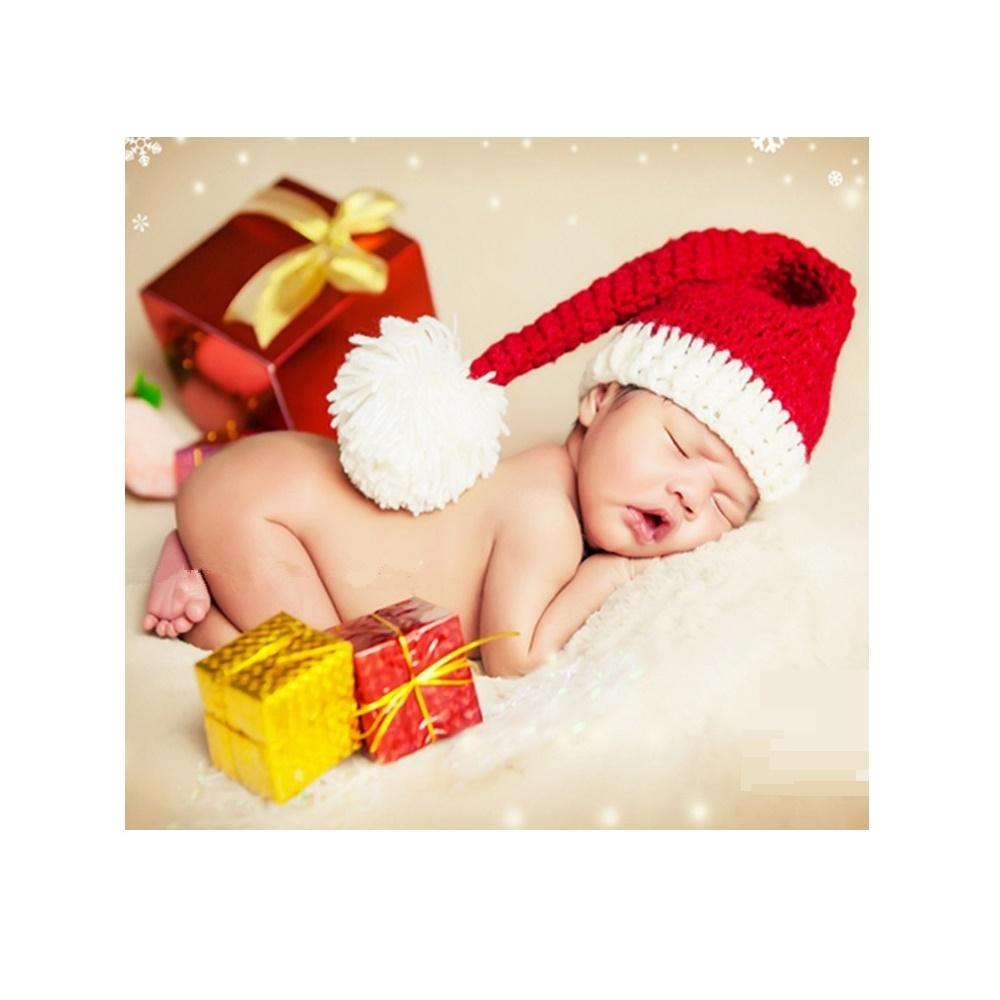 Baby santa hat Infant photo props bunny doll Knit newborn hat