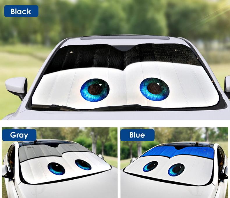 Cartoon Eyes Front Auto Car Windshield Sunshade Sun Visor