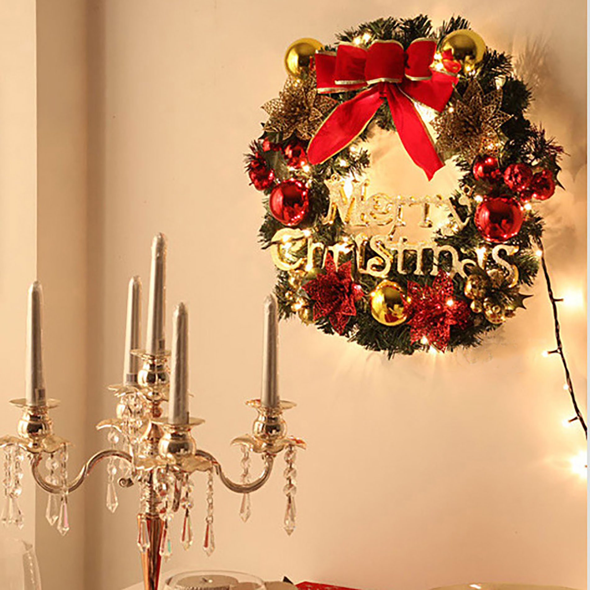 """Home Decorations 12"""" Bowknot Merry Christmas Wreath Door ..."""