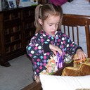 Grandgirl Nicole Rogers on a visit to Christine Keddy's house.