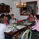 Friends sharing lunch at Christine's house