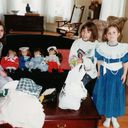 Anna Rafuse, Laura, Amy Kuhl, all granddaughters of Em, with their American girl dolls 1993