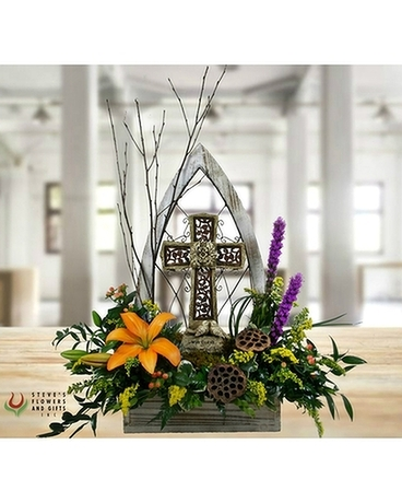 Cathedral Windowbox with Cross Statue