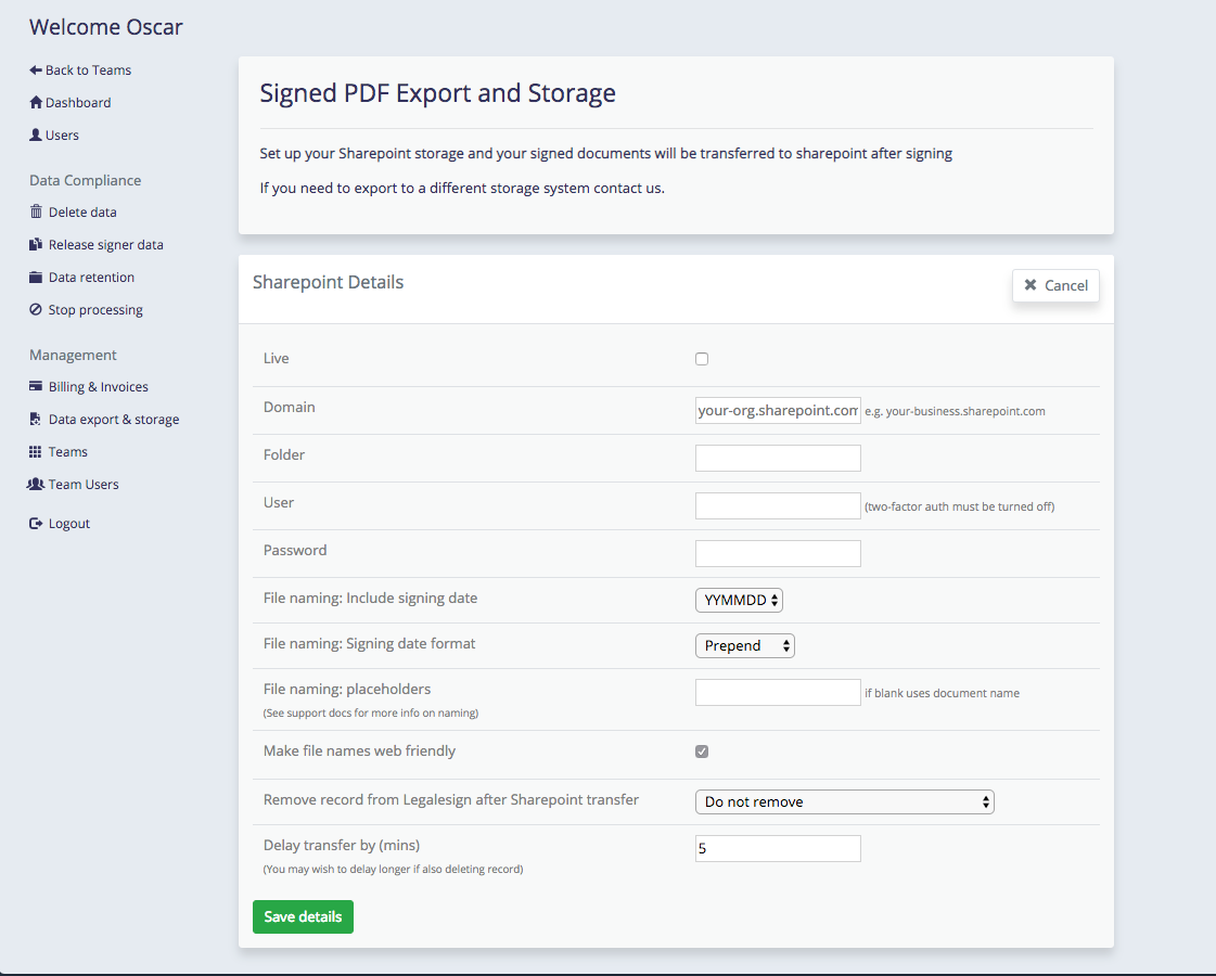 Sharepoint signed PDF export on Legalesign