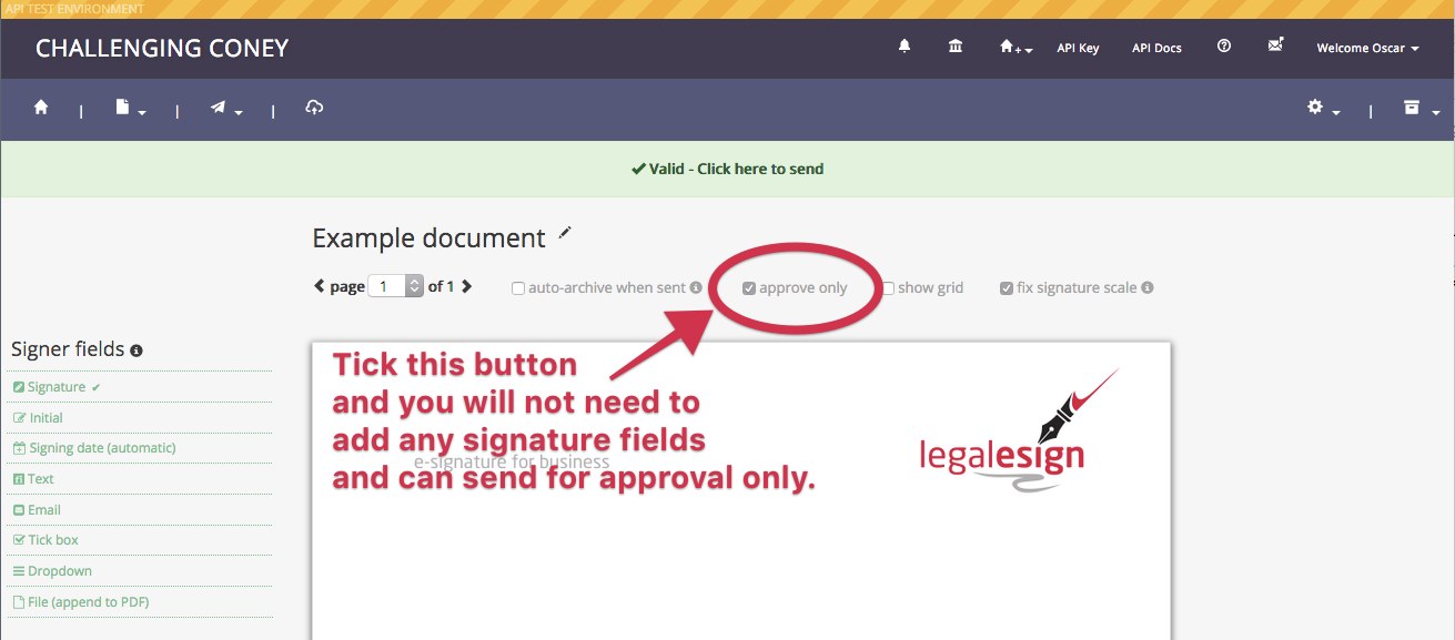 set a document for approval only