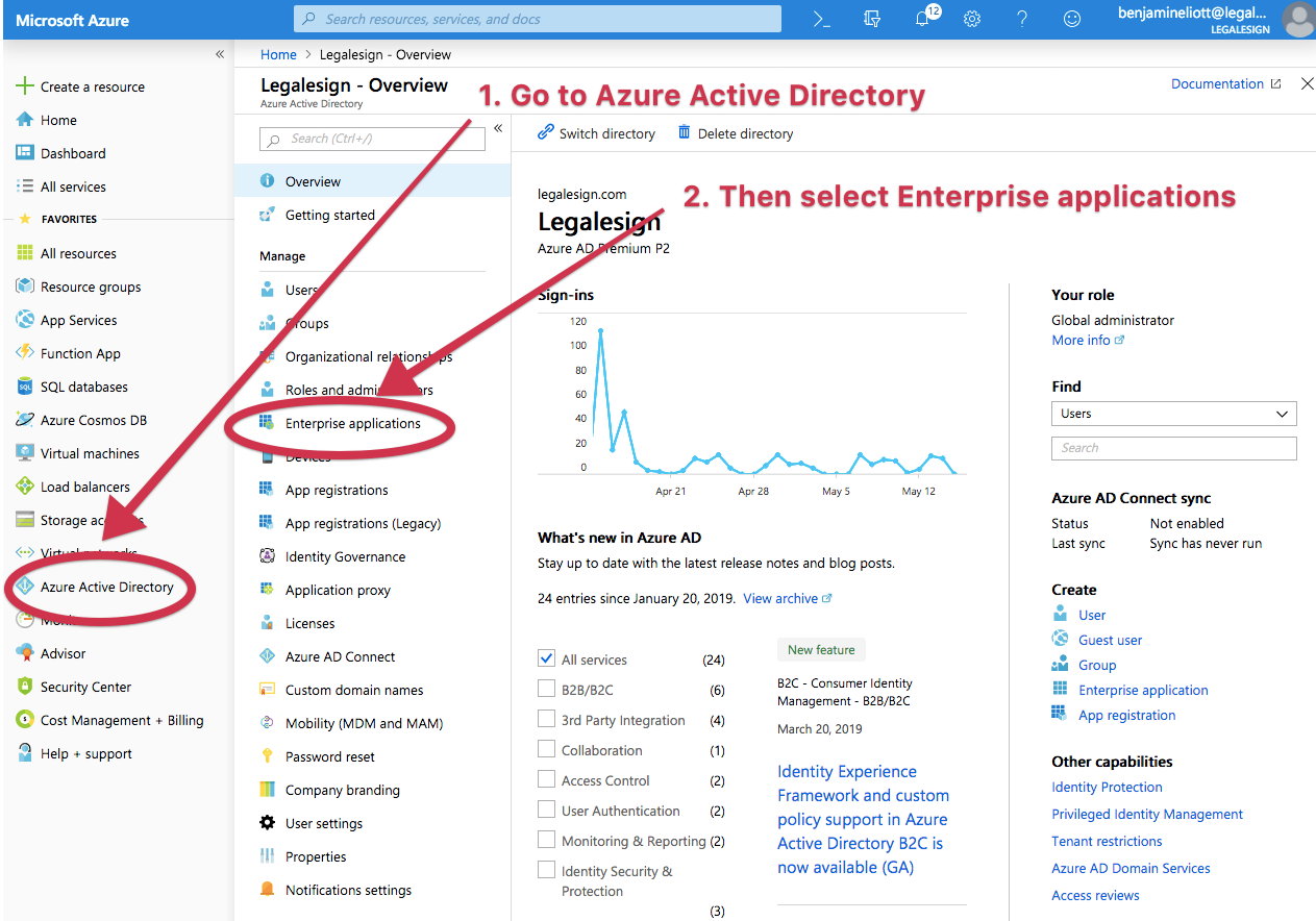 login to azure and go to enterprise application