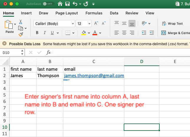 Sample excel file for bulk send
