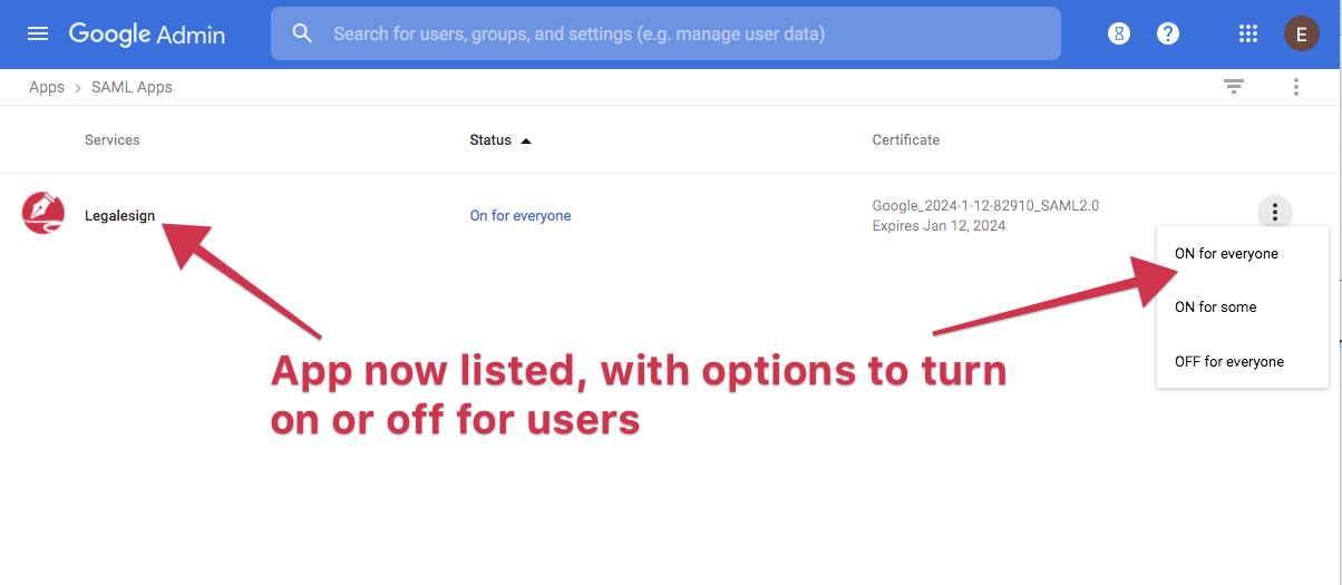 turn on google auth to legalesign for your users