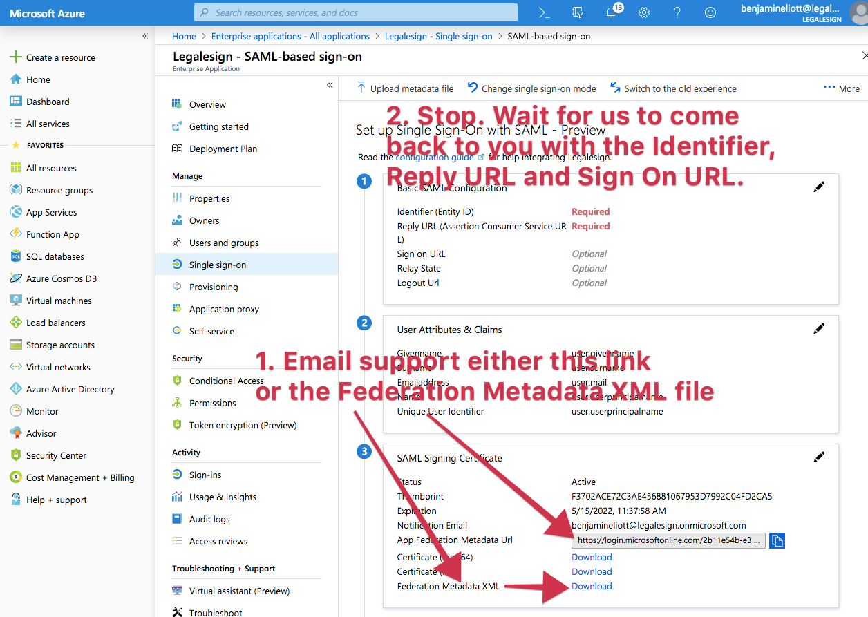 get the Azure SAML metadata