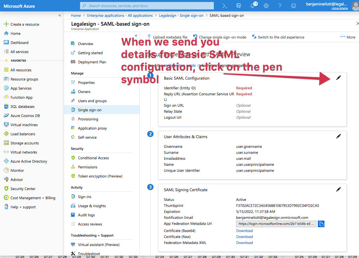 edit the basic saml configuration section