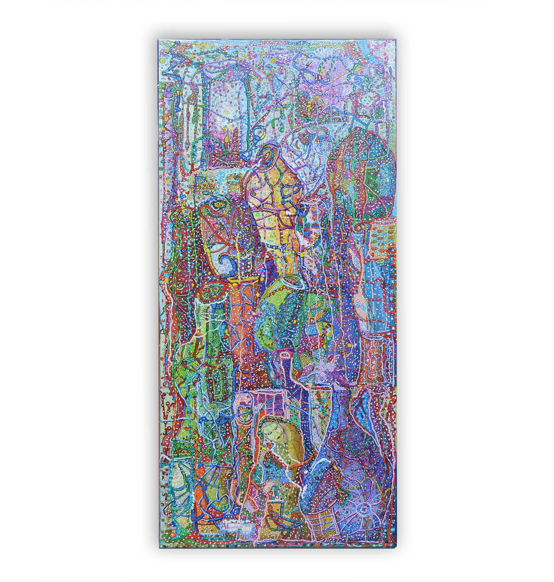 Crescendo by Mally-Elbaz-Almandine-Painting on canvas