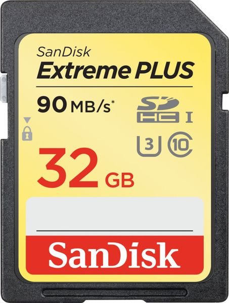 Sandisk sdhc 32gb extreme plus 90mb s uhs 1 memory card