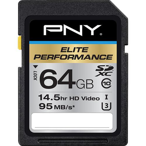 Pny technologies 64gb elite performance uhs 1 sdxc memory card %28u3  class 10%29