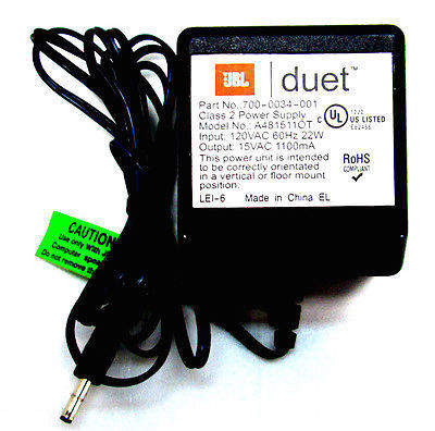 Jbl duet speakers ac adapter power supply 700 0034 001 a481511ot 15vac 1100ma