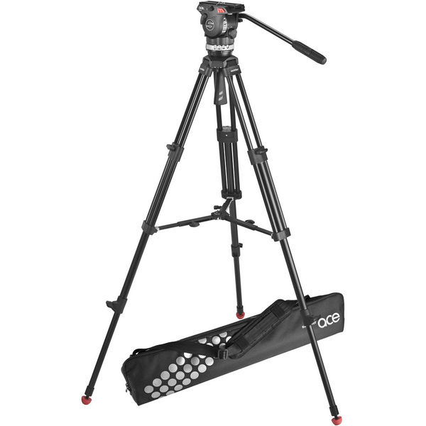 Sachtler ace m fluid head with 2 stage aluminum tripod   mid level spreader