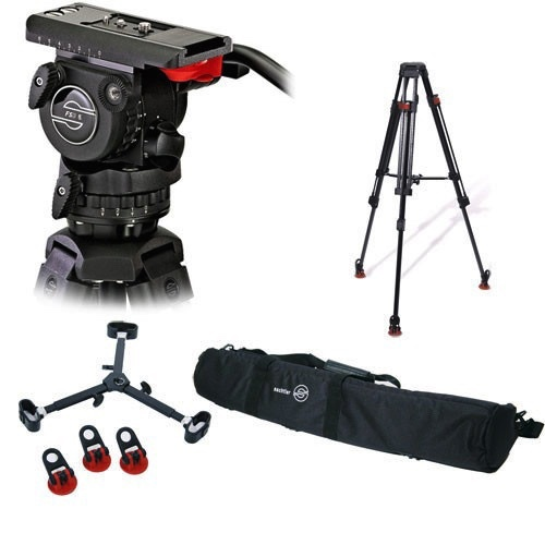 Sachtler fluid head with tripod and mid level spreader