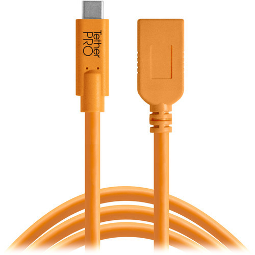 Tether tools tetherpro usb type c to usb type a extension cable %2815'  orange%29