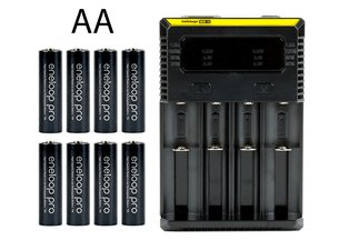 Rechargeable AA Battery 8-Pack Travel Kit
