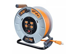 Masterplug 100-foot Large Metal Open Extension Reel 4-Outlet