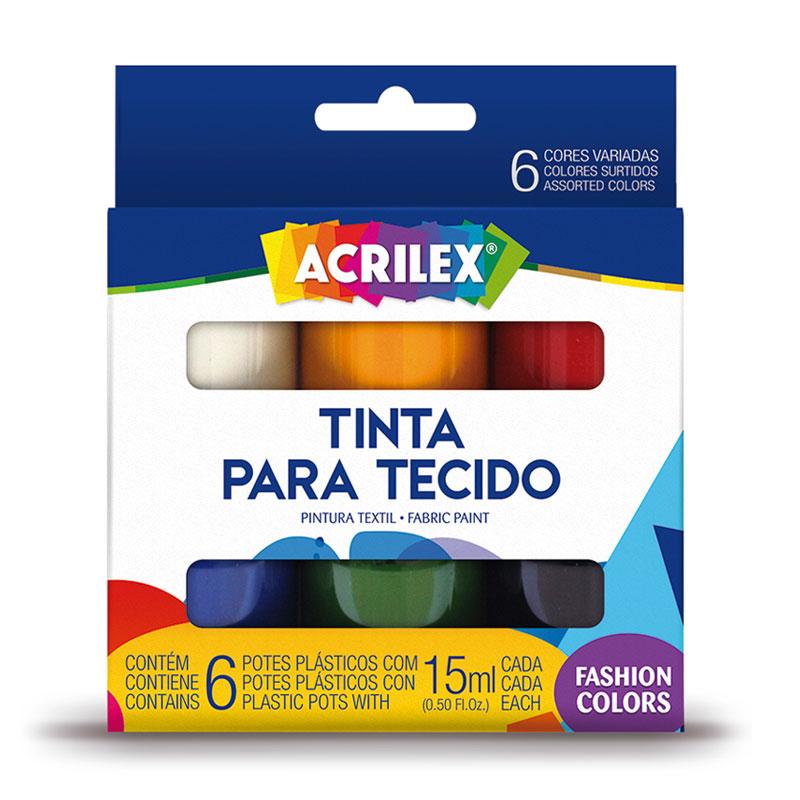 Tinta para tecido 6 cores 15ml - Acrilex