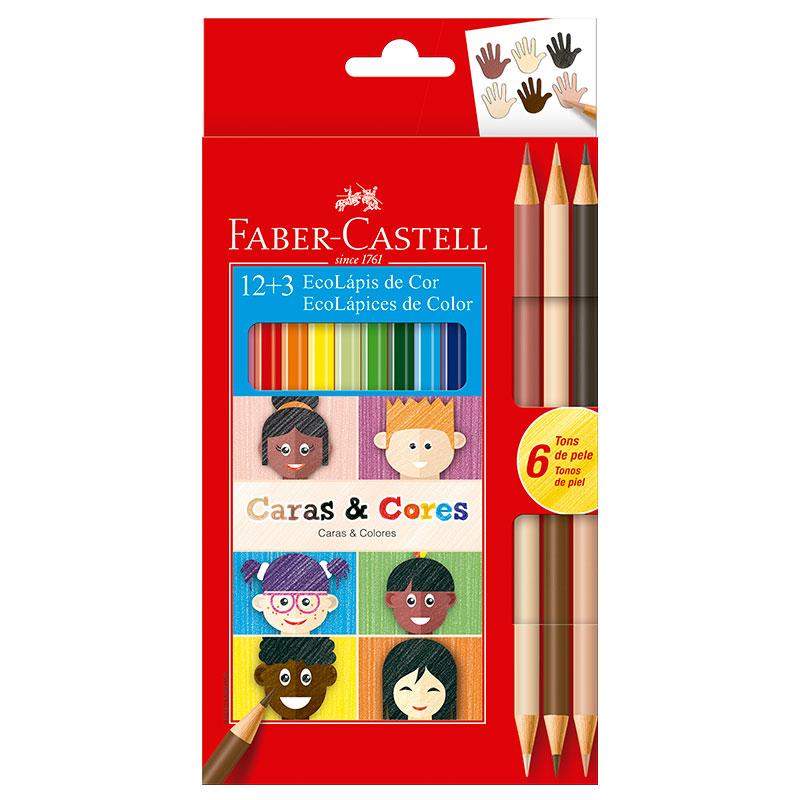 Lápis de cor Caras e Cores 12 cores + 6 tons de pele - 120112CC - Faber-Castell