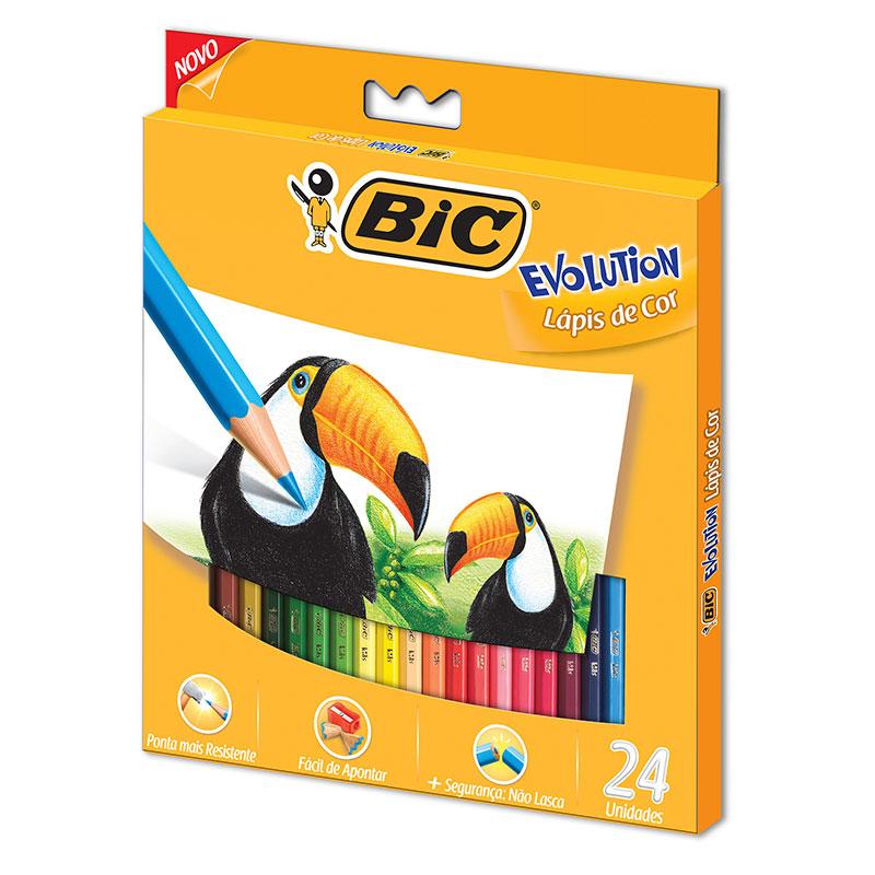 Lápis de cor 24 cores Evolution Sextavado - Bic