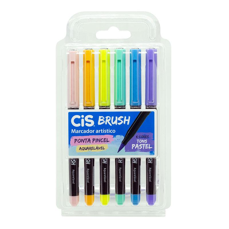 Caneta pincel Brush Aquarelável - com 6 cores tons pastel - Cis