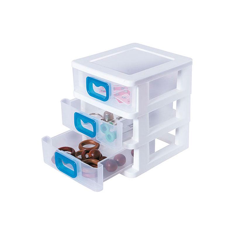Gaveteiro plástico de mesa pequeno - com 3 gavetas - GV-17 - São Bernardo