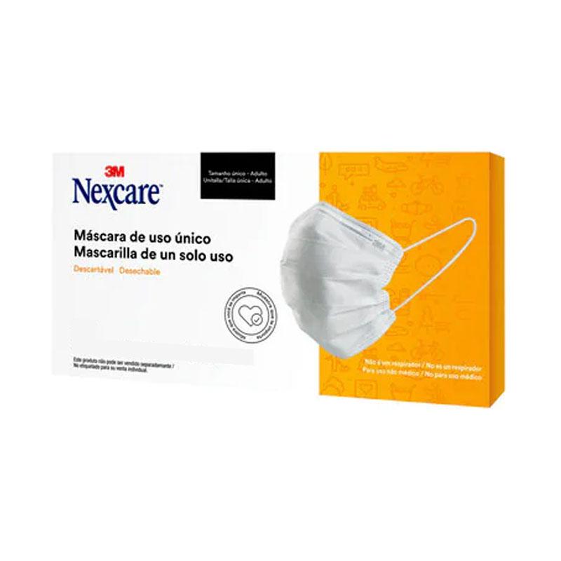 Máscara descartável Nexcare 3 camadas - caixa com 10 unidades - 3M