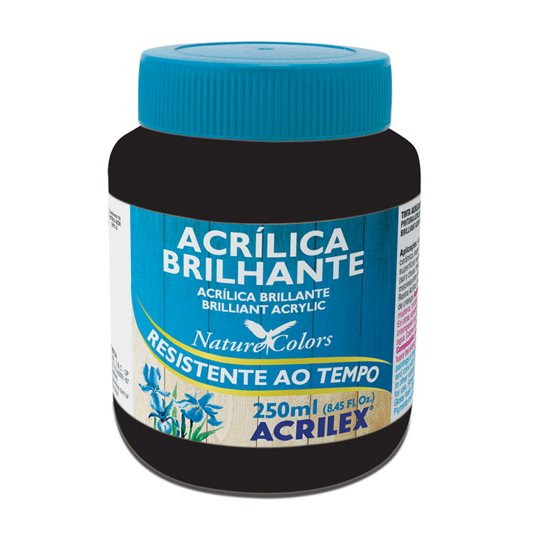 Tinta acrílica brilhante Preto 250ml - 520 - Acrilex