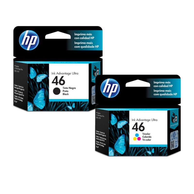 Kit Cartucho HP Original (46) Com 2 unid. Preto + Cores