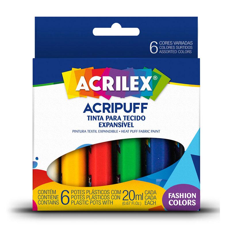 Tinta para tecido Acripuff 6 cores 20ml - Acrilex