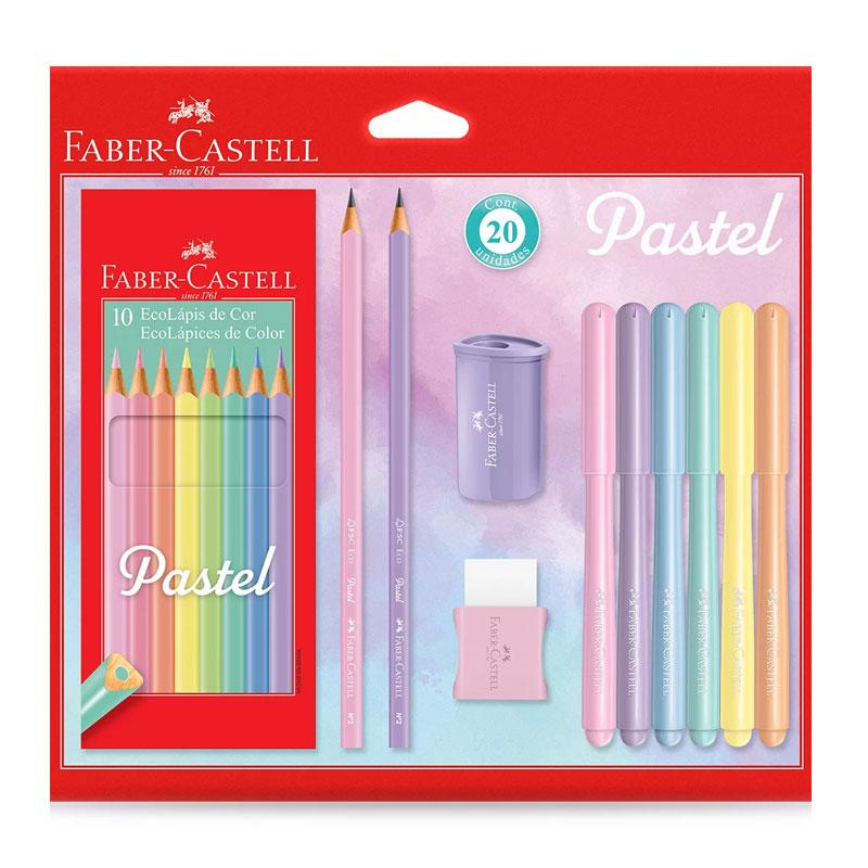 Lápis de cor 10 cores - KIT/PASTEL - Faber-Castell