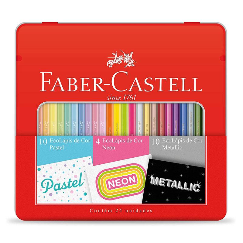 Lapis de cor 10 pastel + 4 neon + 10 metallic - KIT/CORES - Faber-Castell