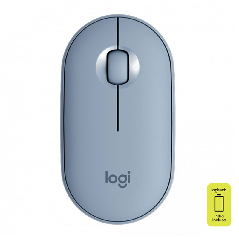 Mouse sem fio óptico Pebble azul - M350 - Logitech