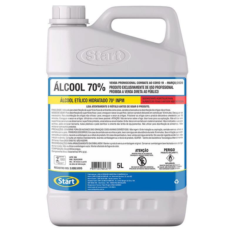 Álcool líquido Start 70% 5 litros - Start Química