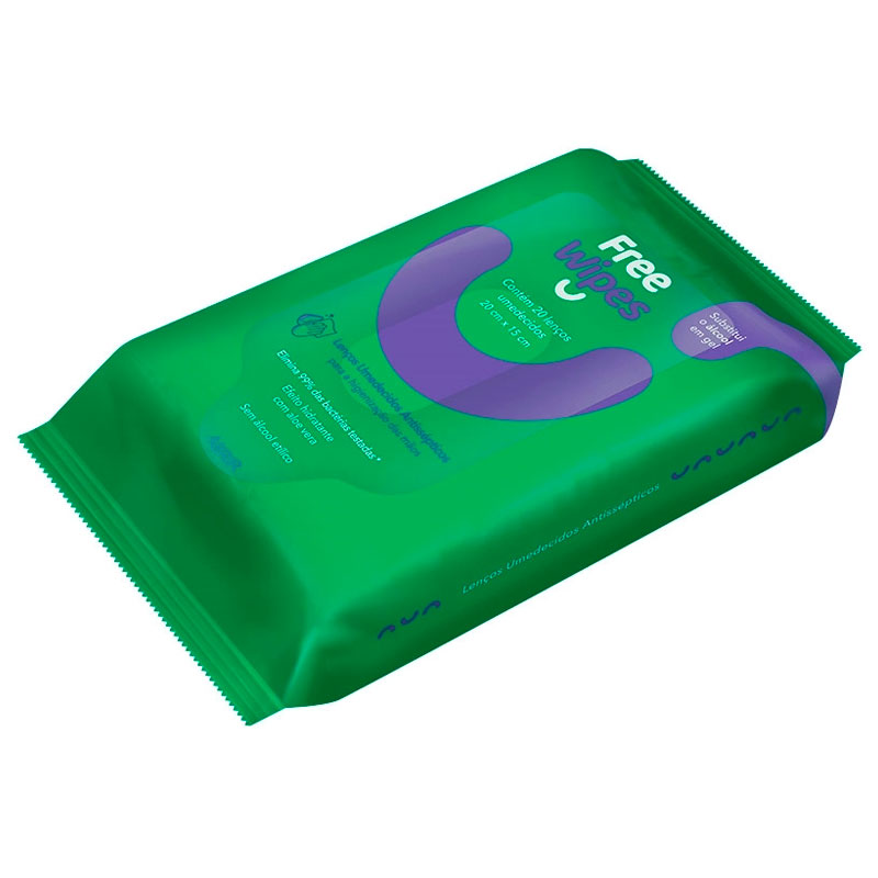 Lenço umedecido antisséptico - com 20 unidades - Freeco