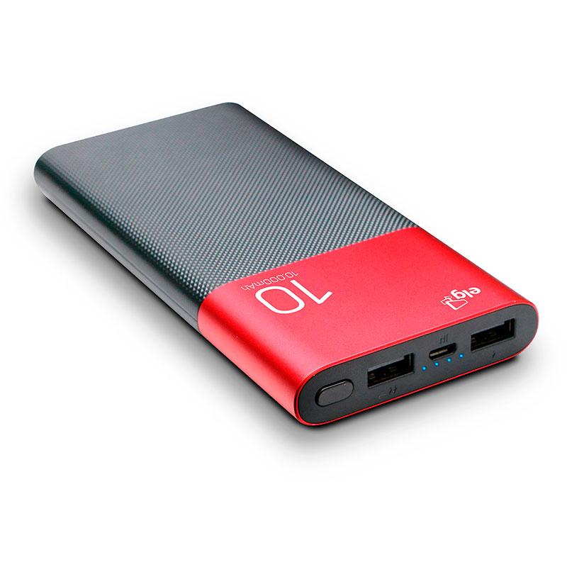 Carregador portátil Power Bank Aluminum 10000mAh USB PB100RDAL Preto e Vermelho Elg