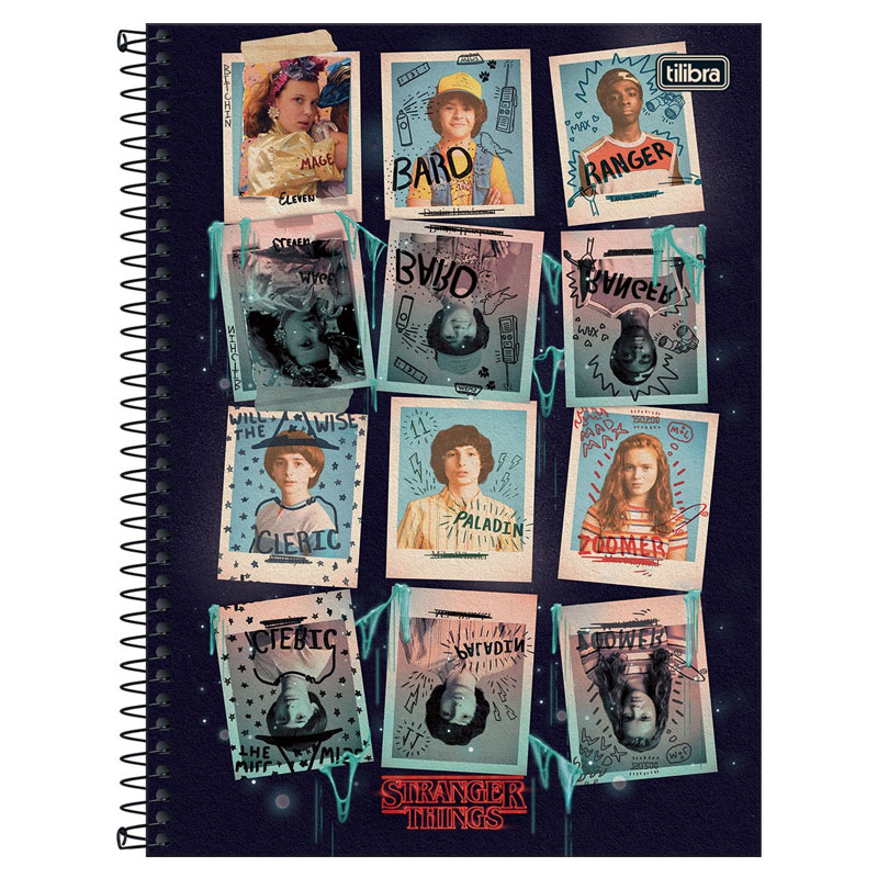 Caderno espiral capa dura universitário 1x1 - 80 folhas - Stranger Things - 2 - Tilibra