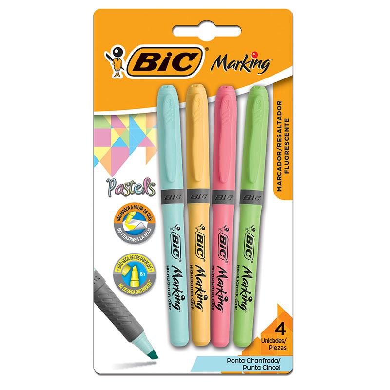 Pincel marca texto Marking Grip pastel - com 4 cores - Bic